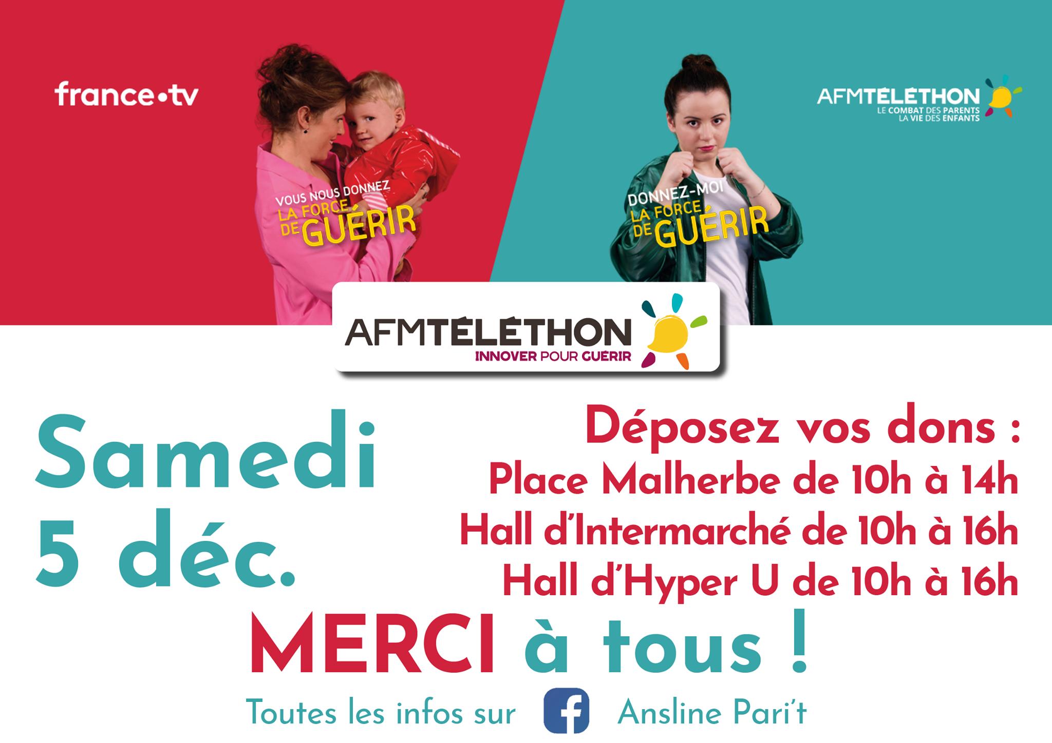 Téléthon 2020 @ Place Malherbe, Hall d'Intermarché, Hall d'Hyper U